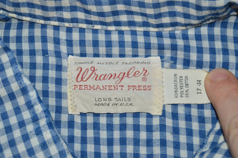 80s Wrangler Blue White Gingham Pearl Snap Shirt Extra Large