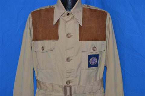 70s Bob Allen Safari Suede Belted Hunting Jacket Medium
