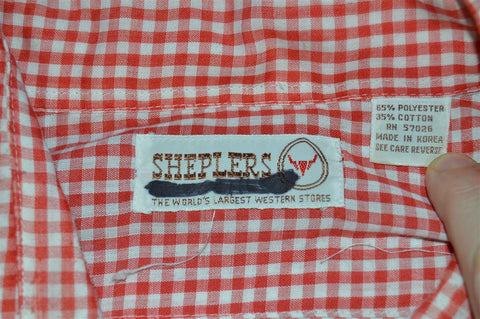 80s Sheplers Red White Gingham Pearl Snap Shirt Extra Large
