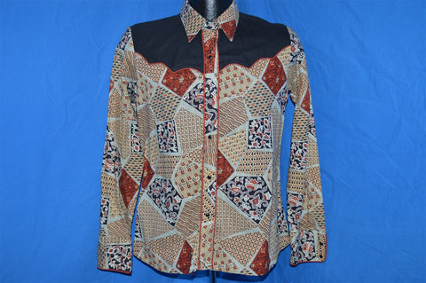 70s Kenny Rogers Brown Patchwork Paisley Pearl Snap Shirt Small