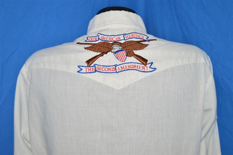 80s Dee Cee White Embroidered Eagle Guns Pearl Snap Shirt Large