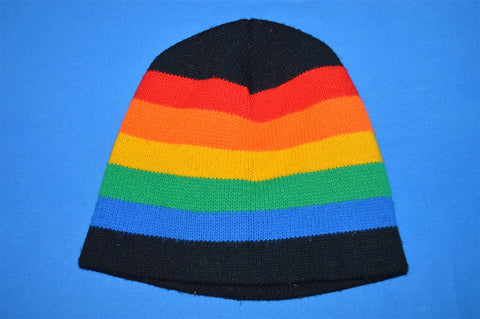 80s Rainbow Striped Beanie Winter Hat Youth / Small