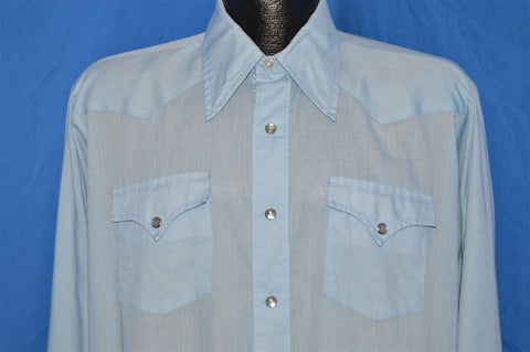 70s H Bar C Blue Western Pearl Snap Shirt Large