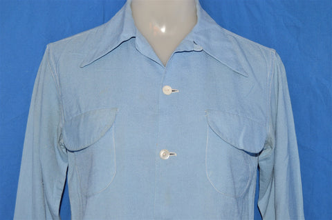 40s Silverwoods Blue Rayon Loop Collar Shirt Extra Small