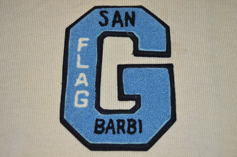 40s San Barbi Flag G Letterman Off-White Pullover Sweater Small