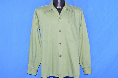 70s Green Loop Collar Button Down Shirt Medium