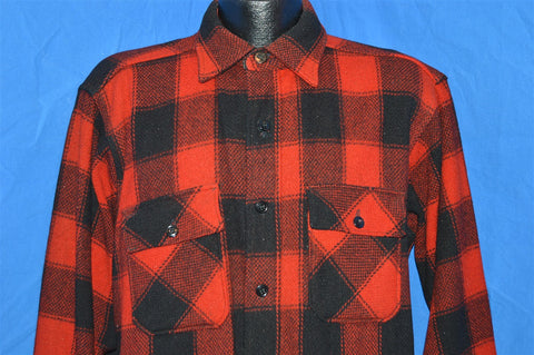 40s Plaid Wool Men's Button Down Hunting shirt Extra Large