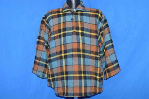 60s Plaid Button Loop Collar Pull Over Wool Jacket shirt Extra Large