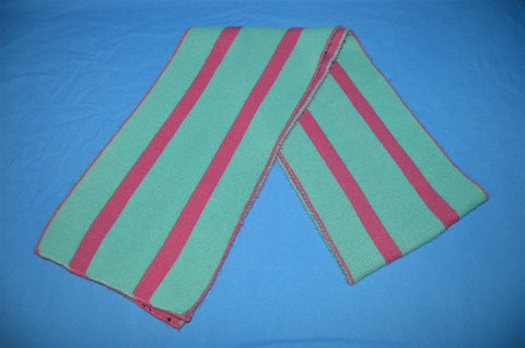 80s Pink Teal Vertical Striped Winter Scarf
