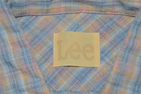 80s Lee Pink Blue Western Button Down Shirt Large
