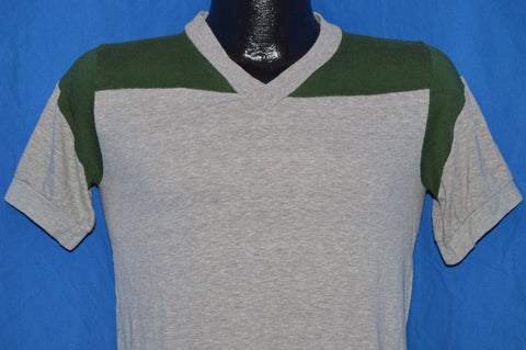 70s Champion Gray Green V Neck Jersey t-shirt Small