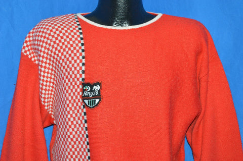 80s Red White Checkered Sweater Women's Large