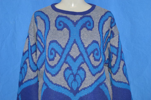80s Purple Blue Gray Abstract Pattern Sweater Large