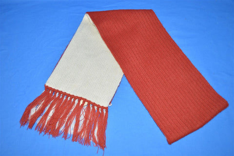 70s Maroon and Off White Knit Ski Winter Scarf