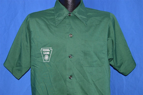70s Pennsylvania Lions Club Green Button Down Shirt Medium