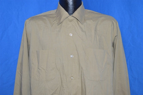 60s Cranbrook Tan Khaki Rockabilly Shirt Medium