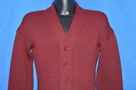 50s Maroon Cardigan Wool Sweater Small