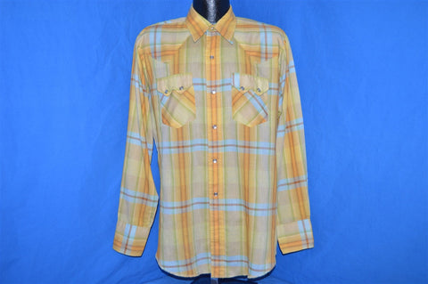 70s Washington Dee Cee Yellow Plaid Pearl Snap Shirt Large