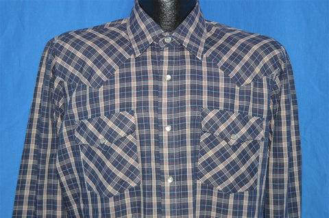 80s Townsley Blue Plaid Pearl Snap Shirt Medium