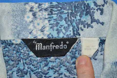 70s Manfredo Blue Flowered Disco Short Sleeved Shirt Small
