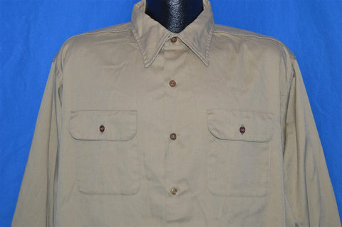 60s Big Yank Khaki Button Down Work Shirt Extra Large