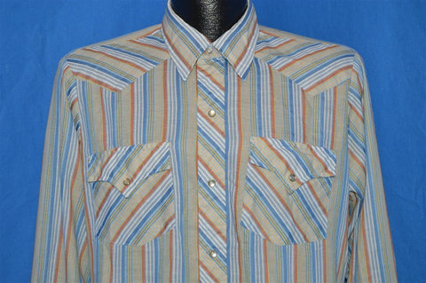 80s Dickson Jenkins Blue Brown Striped Pearl Snap Shirt Medium