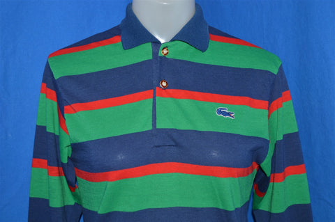 80s Izod Blue Green Red Striped Polo Shirt Youth Extra Large