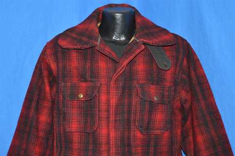50s Woolrich 503 Black Red Plaid Wool Hunting Extra Large