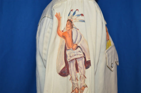 40s Tanbrook Native American Painted Pearl Snap Shirt Medium