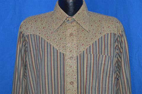 80s Tan Striped Floral Western Button Down Shirt Large