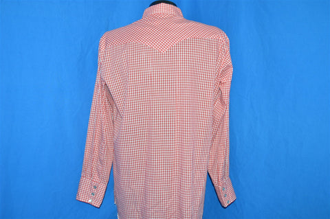 60s H Bar C Red Plaid Gingham Pearl Snap Shirt Large
