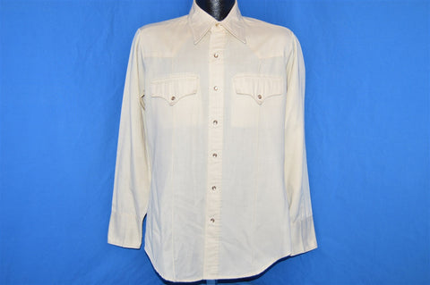 70s Sears Off White Pearl Snap Shirt Medium