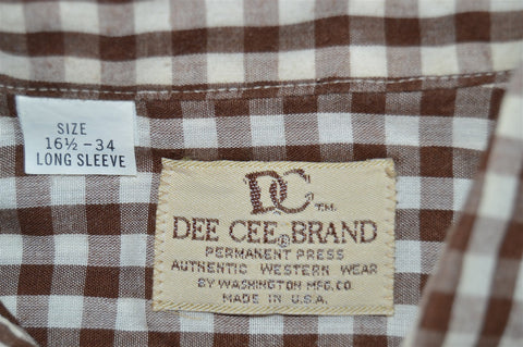 70s Dee Cee Brown Gignham Plaid Pearl Snap Shirt Large