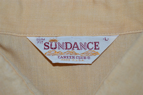 80s Sundance Peach Embroidered Slim Fit Pearl Snap Shirt Large