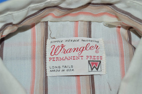 70s Wrangler White Striped Pearl Snap Shirt Large