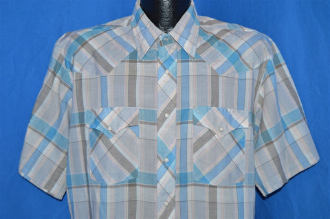 80s Wrangler Gray Blue Plaid Pearl Snap Shirt Extra Large