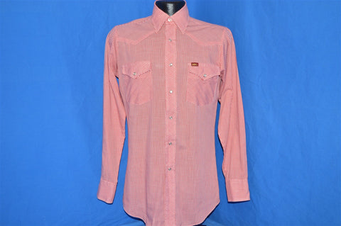 80s Lee Red White Gingham Pearl Snap Shirt Small