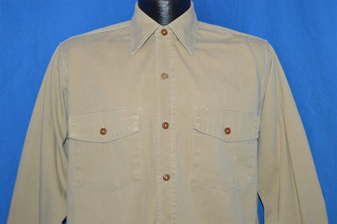 40s Hercules Khaki Work Shirt Large