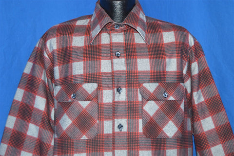 80s Red Gray Plaid Flannel Button Down Shirt Large
