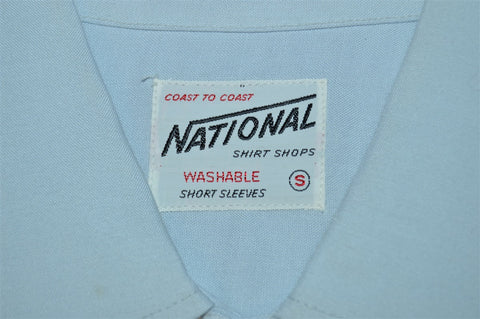 50s National Blue Palm Tree Rayon Deadstock Shirt Small
