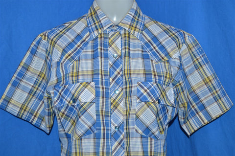 80s Blue Plaid Pearl Snap Shirt Youth Extra Large