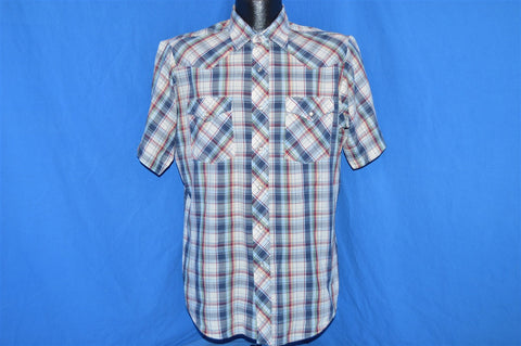 80s Lee White Blue Plaid Pearl Snap Shirt Large