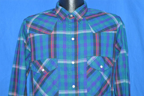 80s Dakota Blue Green Red Plaid Pearl Snap Shirt Medium