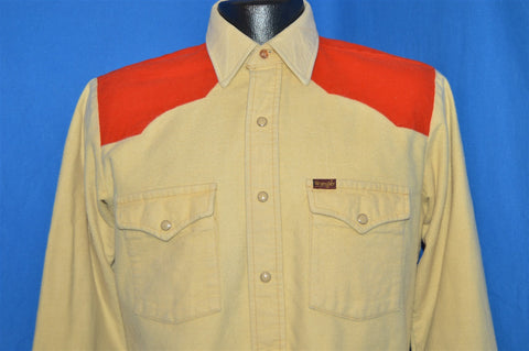 80s Wrangler Cream Orange Flannel Shirt Medium