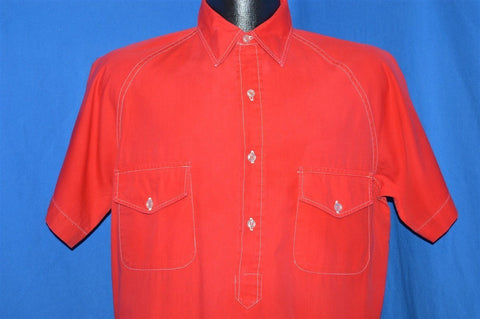 60s Red White Stitching Pullover Shirt Small