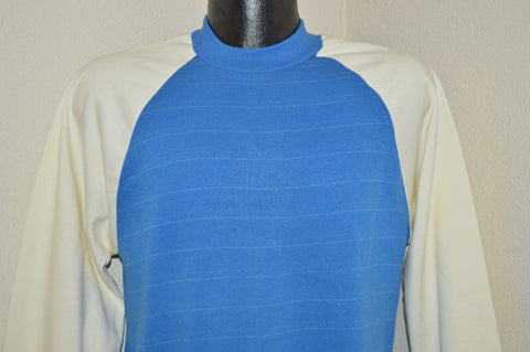 80s Blue White Crewneck Striped Sweatshirt Medium