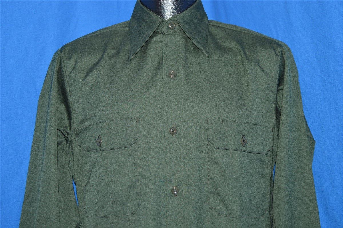 0a6dff05634 70s Sears Green Workwear Button Down Shirt Small - The Captains Vintage