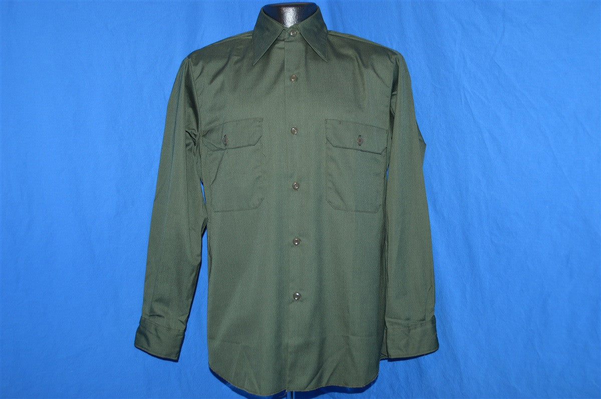 f2a1a589 70s Sears Green Workwear Button Down Shirt Small - The Captains Vintage