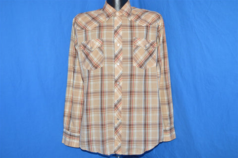 80s Saturdays in California Brown Plaid Pearl Snap Shirt Large