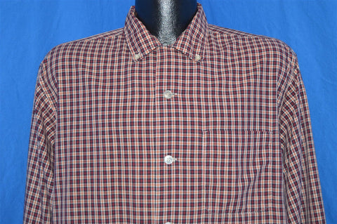 50s Sandy MacDonald Red Black Plaid Rockabilly Shirt Large